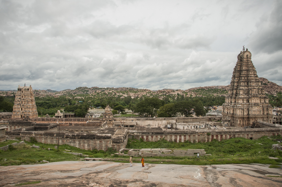 Virupaksha Temple and the boulder-strewn landscape